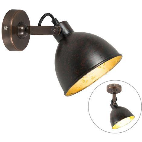 Spot de Plafond Industriel / Vintage marron avec or inclinable - Liko Qazqa Rustique Cage Lampe Luminaire interieur Rond