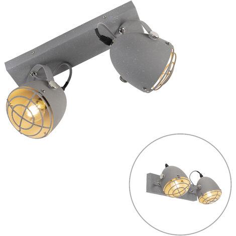 Spot de Plafond Industriel / Vintage réglable aspect béton gris 2 lumières - Rebus Qazqa Industriel / Vintage Luminaire interieur Cylindre / rond