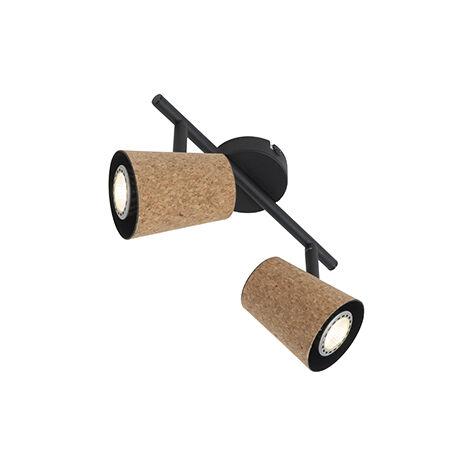 Spot de plafond noir avec abat-jour en liège réglable à 2 lumières - Corky Qazqa Rustique Luminaire interieur