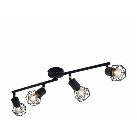 Spot de plafond noir FILAMENT lampe spot à cage réglable dans un ensemble avec éclairage LED