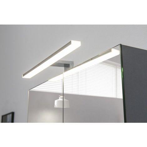 Spot de salle de bains avec éclairage LED - Chrome - 5,2 cm x 30 cm (HxL)