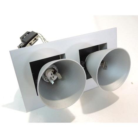 Spot design encastré alu 100X180mm 2 têtes cônes orientables pour lampe G5.3 12V 50W max (non fournie) Z-NEW PRO 2 Z-LINE 211203