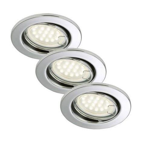 Spot encastrable Ampoule LED GU10 Briloner 7208-038 blanc chaud 9 W chrome jeu de 3