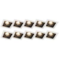 Spot encastrable blanc lot de 10 - Carree Qazqa Design, Moderne Luminaire interieur