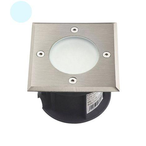 Spot encastrable Carré Inox verre dépoli QUEBEC 1.5W LED SMD intégrées IP67 Blanc Froid 12V extérieur HIPOW