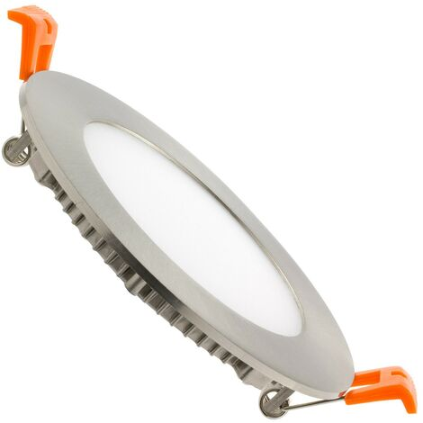Spot Encastrable Dalle LED Ronde Extra-Plate 6W Argentée Downlight Panel