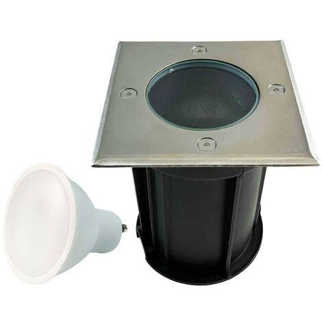 Spot Encastrable de Sol Carré Inox 304 Exterieur IP65 + Ampoule GU10 5W Blanc Neutre 4500K