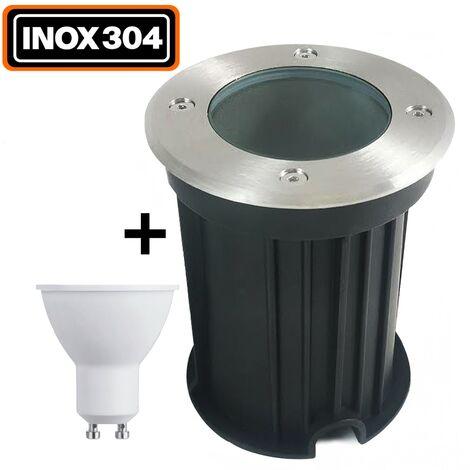 Spot Encastrable de Sol Rond Inox 304 Exterieur IP65 + Ampoule GU10 7W Blanc Chaud 2700K