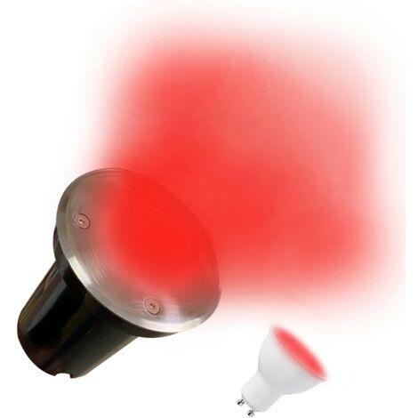 Spot Encastrable de Sol Rond Inox 304 Exterieur IP65 + Ampoule GU10 7W ROUGE