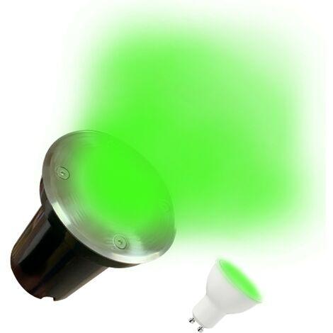 Spot Encastrable de Sol Rond Inox 304 Exterieur IP65 + Ampoule GU10 7W VERTE
