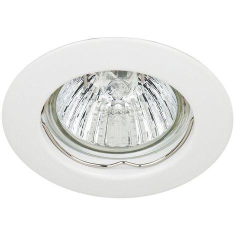 Spot Encastrable Fixe Finition Blanc pour ampoule GU10 Halogène / LED - Max 50W