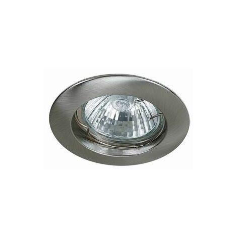 Spot Encastrable Fixe Nickel Satiné pour ampoule GU10 Halogène / LED - Max 50W - Fourni avec ampoule LED GU10 5W et douille