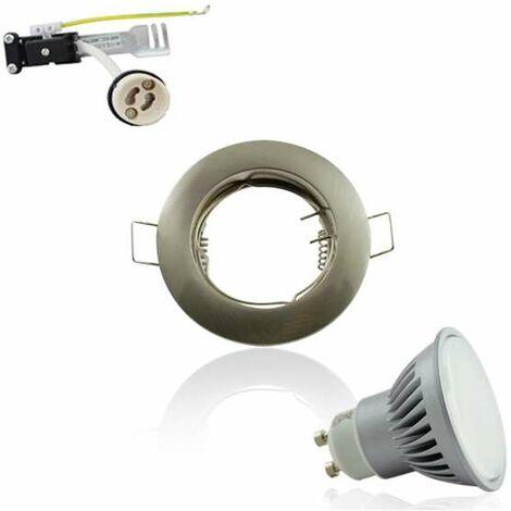 Spot Encastrable GU10 Rond Aluminium Fixe 7W 3000K Angle Large 120°