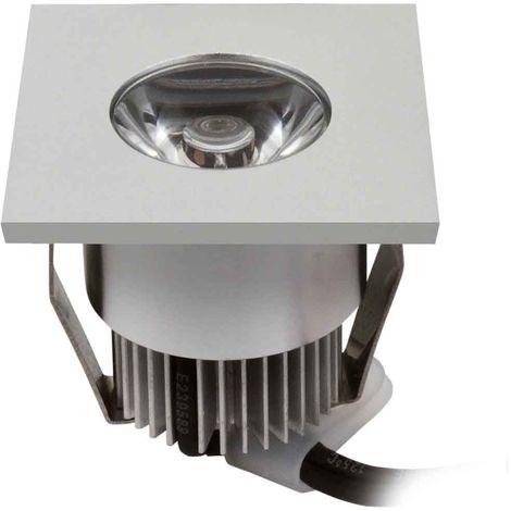 Spot encastrable HAXA Argent Carré LED intégré IP20 1W Blanc Chaud KANLUX - 8101