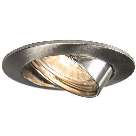 Spot encastrable inclinable en acier - Edu Qazqa Moderne Cage Lampe Luminaire interieur Rond