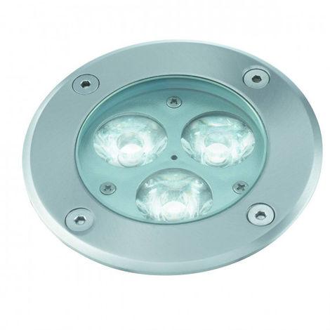 Spot encastrable led, rond, acier inoxydable et verre