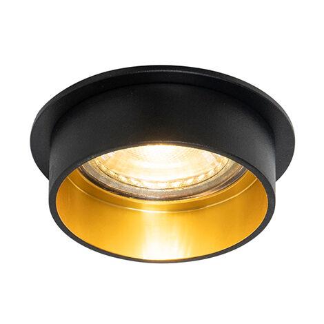 Spot encastrable Moderne noir avec or - Insta Qazqa Moderne Luminaire interieur Cylindre / rond