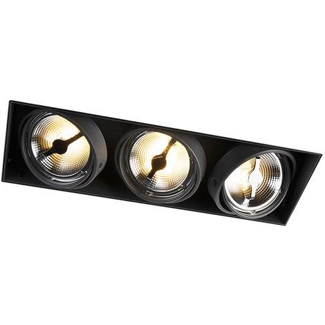 Spot encastrable noir AR111 - Oneon 111-3 Trimless Qazqa Design, Industriel / Vintage, Rustique, Moderne Luminaire interieur
