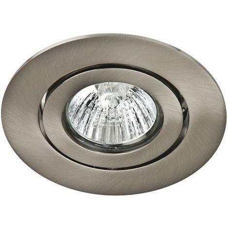 Spot Encastrable Orientable Nickel Satiné pour ampoule GU10 230V Halogène / LED - Max 50W
