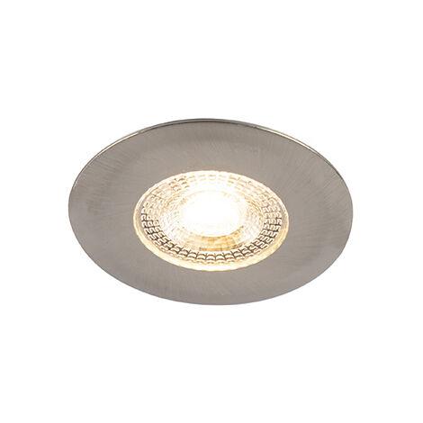 Spot Encastrable / Plafonnier argent avec LED dimmable en 3 étapes - Ulo Qazqa Moderne Luminaire exterieur Luminaire interieur IP44 Rond