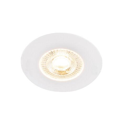 Spot Encastrable / Plafonnier blanc avec LED dimmable en 3 étapes - Ulo Qazqa Moderne Luminaire exterieur Luminaire interieur IP44 Rond