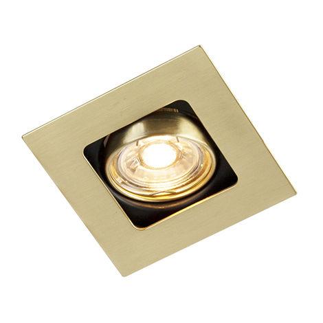 Spot Encastrable / Plafonnier carré or / laiton pivotant et inclinable - Artemis Qazqa Art Deco Cage Lampe Luminaire interieur Carré
