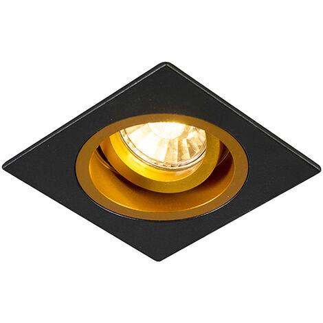 Spot Encastrable / Plafonnier noir avec or 9,3 cm pivotant et inclinable - Chuck Qazqa Moderne Cage Lampe Luminaire interieur