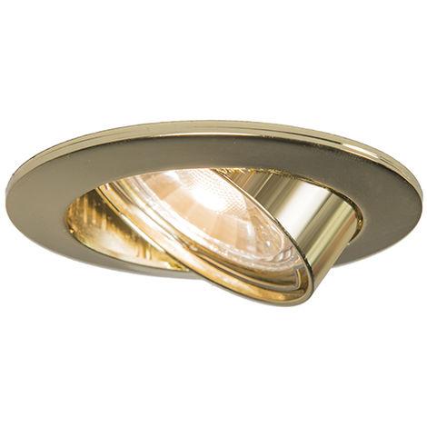 Spot Encastrable / Plafonnier rond inclinable doré - Edu Qazqa Moderne Cage Lampe Luminaire interieur