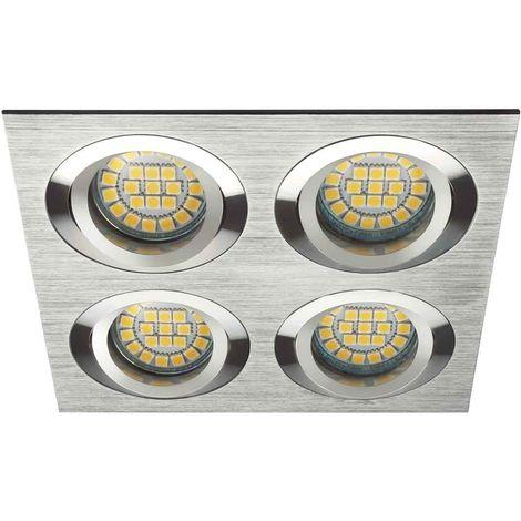 Spot Encastrable SEIDY Aluminium brossé Réctangulaire 4 spots GU5.3/GU10 IP20 Orientable 30° KANLUX - 18286