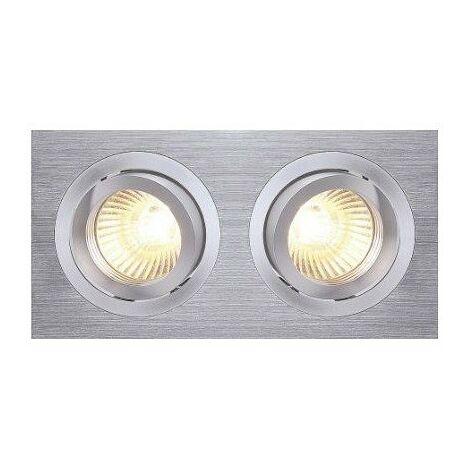 Spot encastré à deux lampes NEW TRIA 2 - orientable - 100W - Rectangulaire - Alu brossé - avec clips ressorts