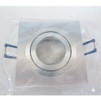Spot encastré alu carré 92X92mm orientable pour lampe GU10 230V ou GU5.3 12V 50W max (non incl) sans transfo IP20 SEET 26201
