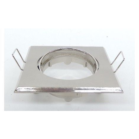Spot encastré carré collerette 84x84mm orientable alu brossé pour lampe GU5.3 (non incl) avec douille 12V BENEITO FAURE 222238W