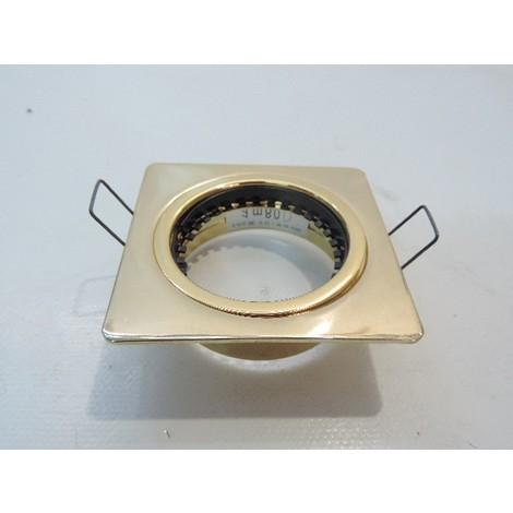 Spot encastré carré fixe 74X74mm doré pour lampe G5.3 12V 50W max (non fournie) TRAJECTOIRE 43103