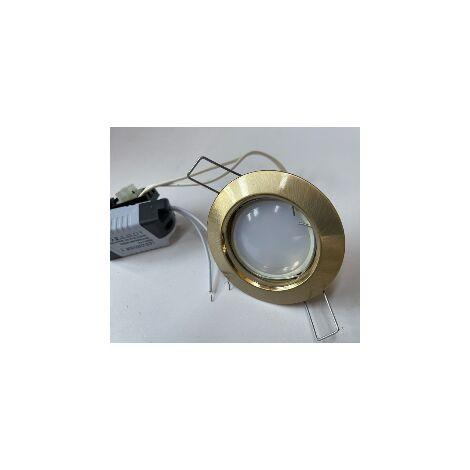 Spot encastré LED 5W Ø 76mm or satiné fixe avec lampe GU5.3 12V et transfo 230V intérieur IP20 WALT TRAJECTOIRE 110033LED