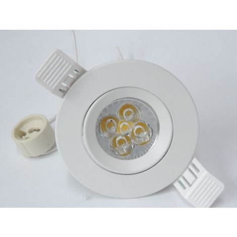 Spot encastré LED 5W Ø 90mm blanc orientable avec lampe GU10 3000K 420lm 230V non-dimmable IP20 BE-LED BL08002001