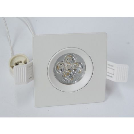 Spot encastré LED 5W blanc carré 90X90mm orientable avec lampe GU10 3000K 420lm 230V non-dimmble IP20 BE-LED BL08002004