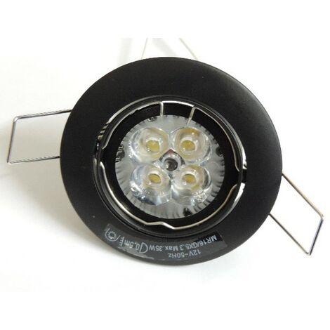 Spot encastré LED 5W noir Ø 82mm orientable 3000K 360lm kit avec transfo 12V et lampe MR16 GU5.3 intérieur IP20