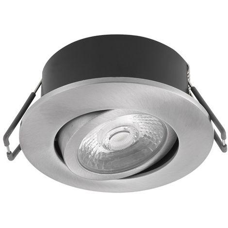 Spot encastré LED 6W BBC Ø 88mm alu brossé orientable 3000K 450lm 230V dimmable 38° étanche IP44 IK08 STORM TRAJECTOIRE 003529