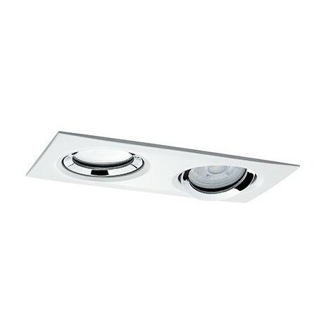 Spot encastré LED Nova orientable - Blanc/chromé - 2x7W - 2700K - IP65 - Dimmable - Avec ampoule