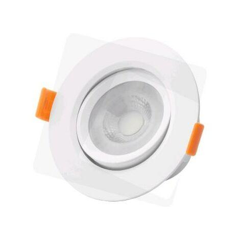 SPOT ENCASTRE ORIENTABLE ROND LED IP20 6W 430 LUMENS - BLANC BRILLANT - Blanc