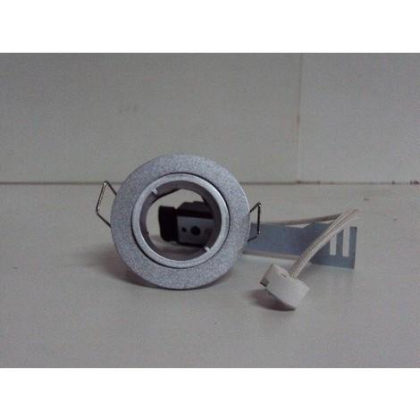 Spot encastré rond fixe 60mm gris pour lampe MR11 G4 12V (non incl) sans transfo 230V TRAJECTOIRE 117320 TEMPETE MINI
