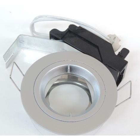 Spot encastré SDB Ø 81mm collerette chromée mat pour lampe GU5.3 12V 50W max (non incl) étanche IP44 RT2012 BE BEST SEET 254401