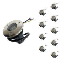 Spot Extérieur Encastrable LED IP65 220V Sol 3W 45°(Pack de 10) - couleur eclairage : Blanc Froid 6000K - 8000K