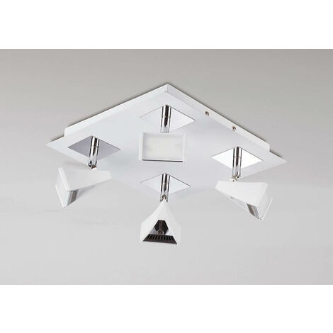 Spot Filippo 4 bombillas LED cuadradas 20W 3000K, 1750lm, blanco mate / cromo pulido