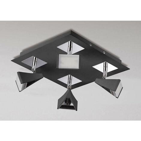 Spot Filippo 4 bombillas LED cuadradas 20W 3000K, 1750lm, negro mate / cromo pulido
