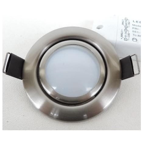 Spot LED 6W encastré Ø 80mm inox orientable 25° avec lampe 3000K GU5.3 12V et driver 230V BRUMBERG 1925.22