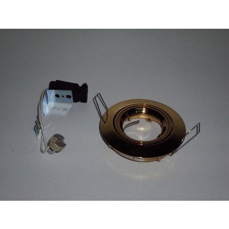 Spot LED 9W orientable 94mm dore avec lampe G5.3 et transfo 12V TRAJECTOIRE 113832LED