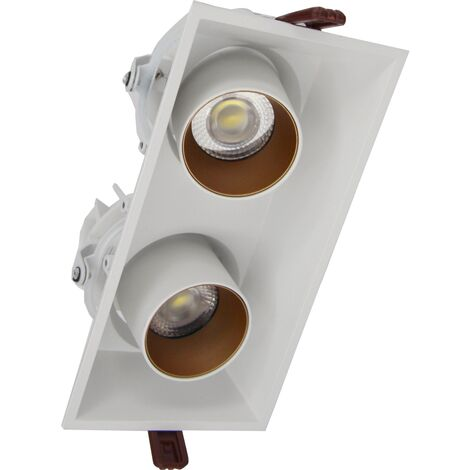 Spot LED COB Orientable Dimmable Rectangle BLANC/DORE 2x9W 120°