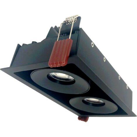 Spot LED Dimmable Encastrable Downlight Double 2x9W Noir Rectangle - Blanc Froid 6000K - 8000K