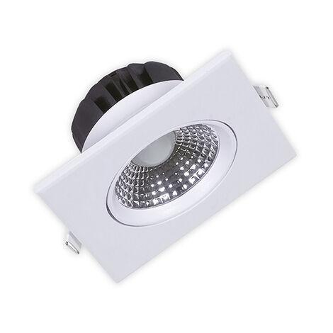 Spot LED downlight carré blanc 5W (Eq. 40W) 6400K Dim 88x88x45mm